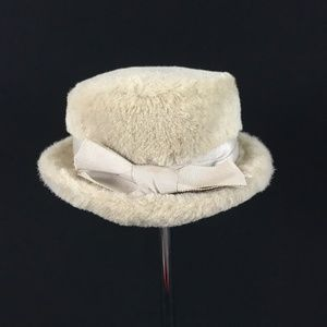 VTG Bowed White Rabbit Fur Pork Pie Hat